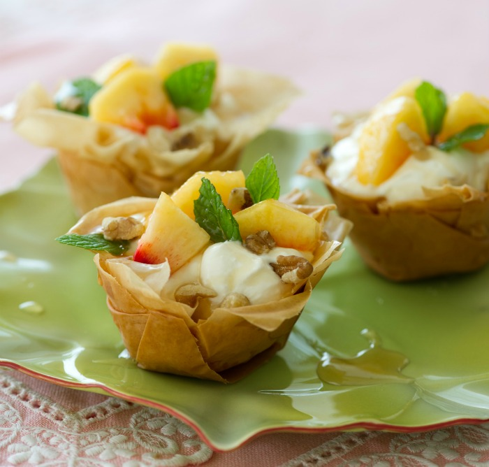 CELEBRATING EASTER! PERFECT DESSERT, PHYLLO CUPS WITH GREEK YOGURT, FRESH PEACHES, AND HONEY!