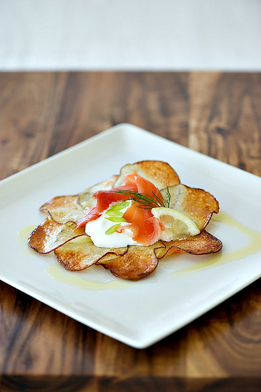 Potato Plates, Smoked Salmon with Creme Fraiche
