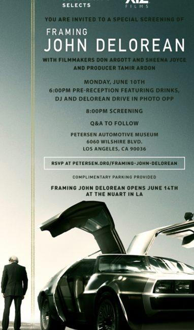 "EVENTS! ""FRAMING JOHN DELOREAN"""