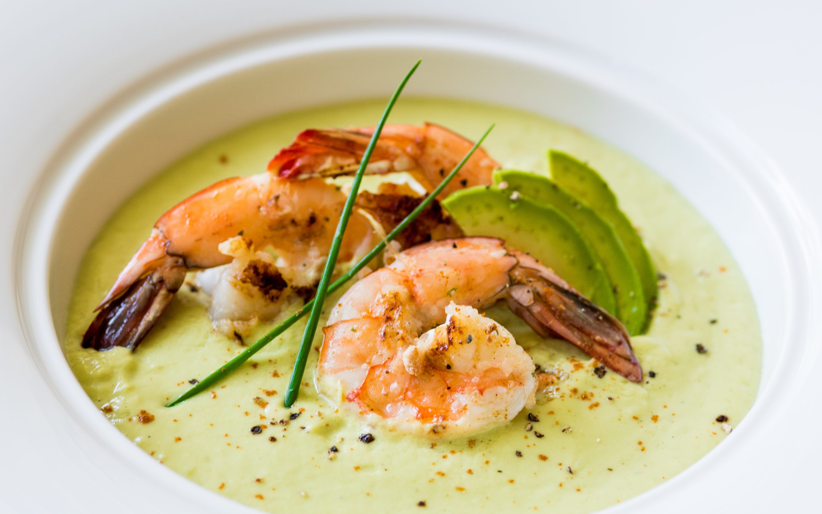CHILLED AVOCADO SOUP WITH GRILLED SPICY SHRIMP