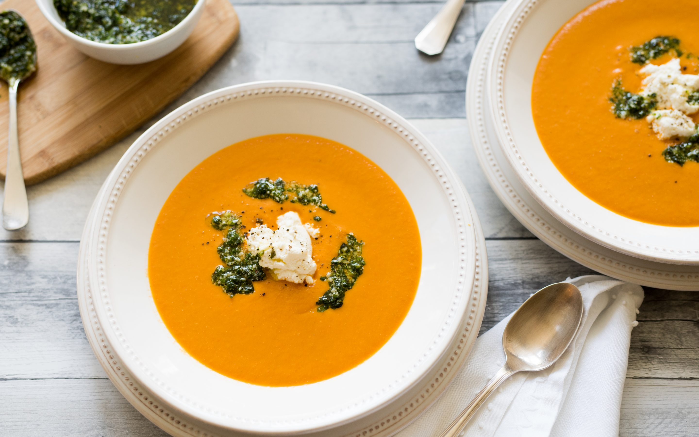 CREAM OF TOMATO SOUP WITH HOMEMADE RICOTTA CHEESE & ARUGULA PESTO