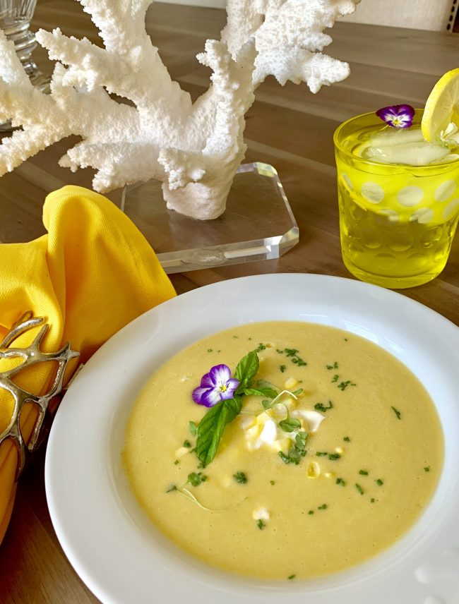 CHILLED SWEET SUMMER  CORN SOUP,  NO CREAM!